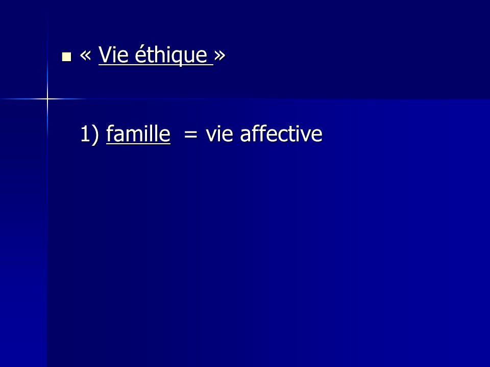 « Vie éthique » « Vie éthique » 1) famille = vie affective