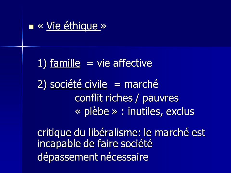 « Vie éthique » « Vie éthique » 1) famille = vie affective 2) société civile = marché conflit riches / pauvres « plèbe » : inutiles, exclus critique du libéralisme: le marché est incapable de faire société dépassement nécessaire