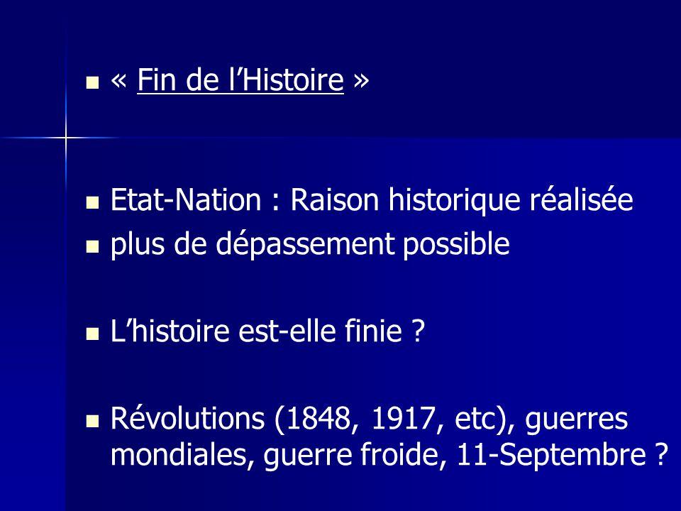 « Fin de lHistoire » Etat-Nation : Raison historique réalisée plus de dépassement possible Lhistoire est-elle finie ? Révolutions (1848, 1917, etc), g