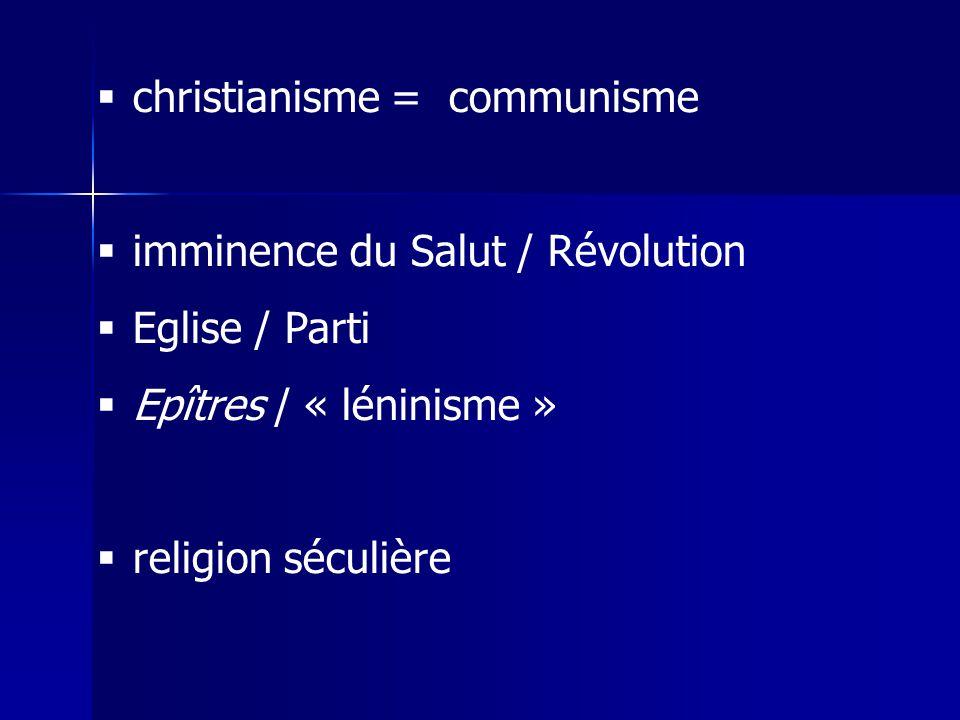 christianisme = communisme imminence du Salut / Révolution Eglise / Parti Epîtres / « léninisme » religion séculière