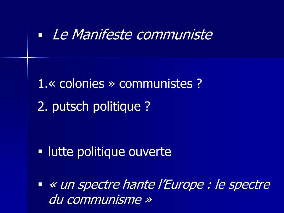 Le Manifeste communiste 1.« colonies » communistes ? 2. putsch politique ? lutte politique ouverte « un spectre hante lEurope : le spectre du communis