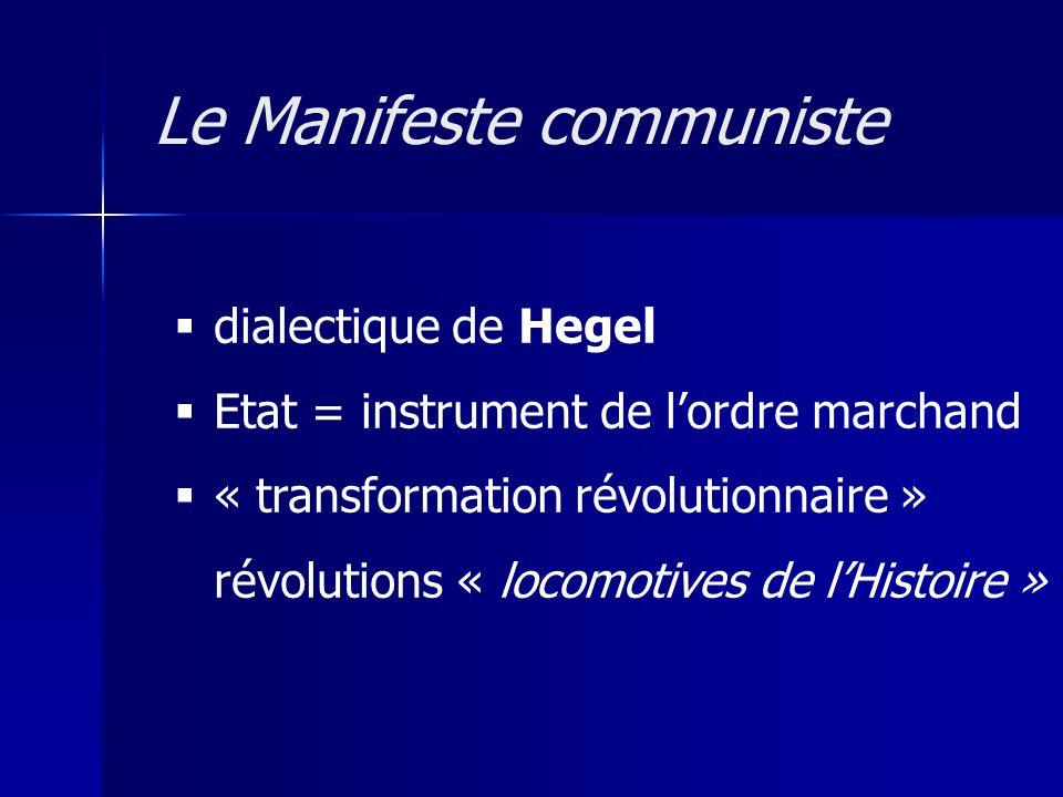 dialectique de Hegel Etat = instrument de lordre marchand « transformation révolutionnaire » révolutions « locomotives de lHistoire » Le Manifeste com