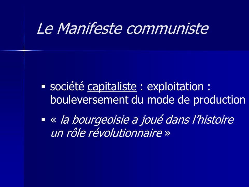 société capitaliste : exploitation : bouleversement du mode de production « la bourgeoisie a joué dans lhistoire un rôle révolutionnaire » Le Manifeste communiste