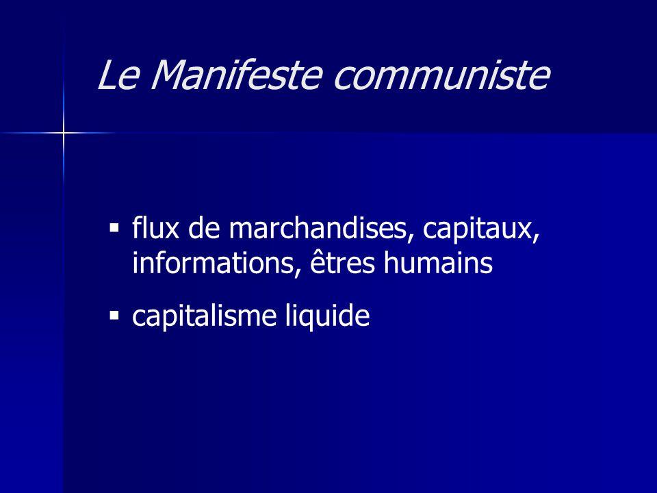 flux de marchandises, capitaux, informations, êtres humains capitalisme liquide Le Manifeste communiste