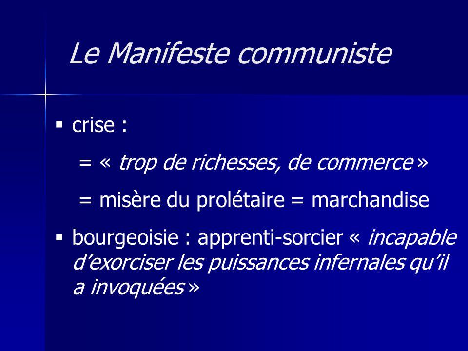 crise : = « trop de richesses, de commerce » = misère du prolétaire = marchandise bourgeoisie : apprenti-sorcier « incapable dexorciser les puissances infernales quil a invoquées » Le Manifeste communiste
