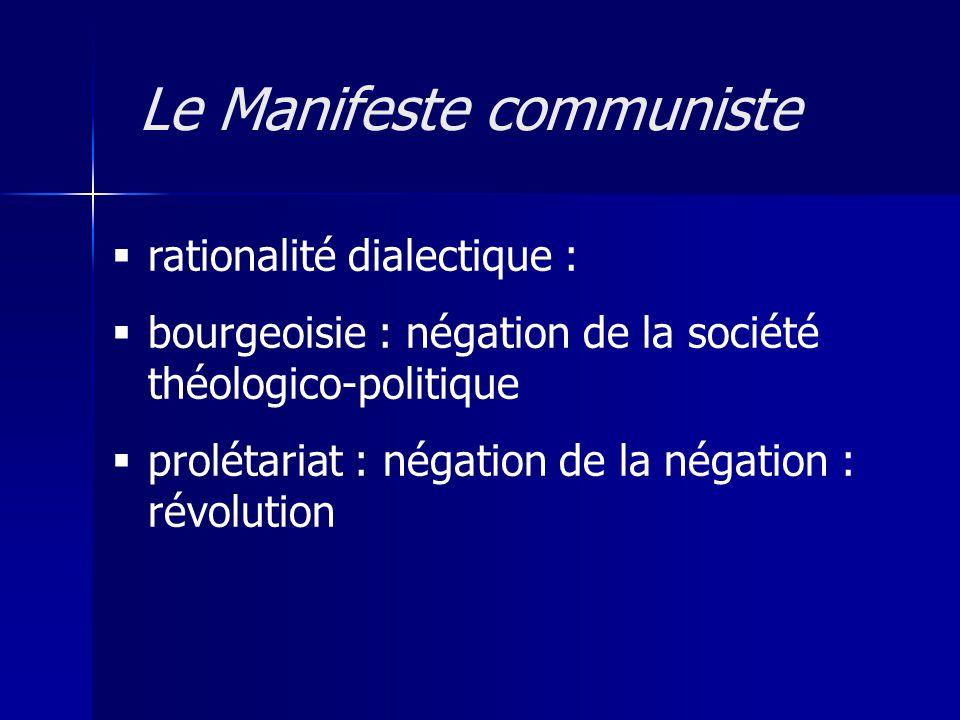 rationalité dialectique : bourgeoisie : négation de la société théologico-politique prolétariat : négation de la négation : révolution Le Manifeste communiste