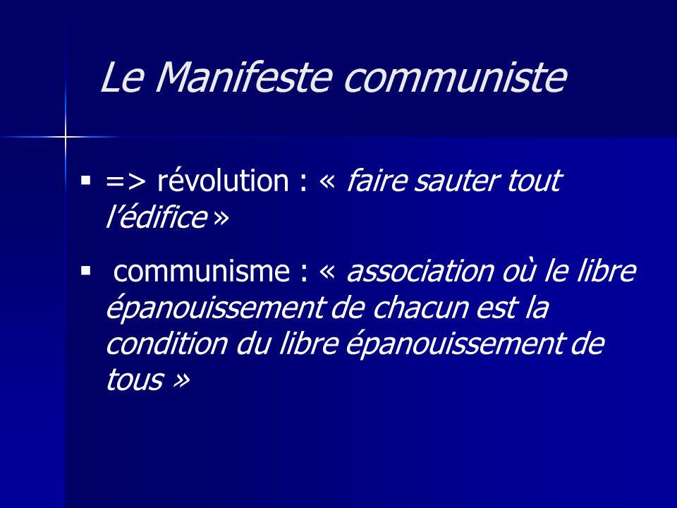 => révolution : « faire sauter tout lédifice » communisme : « association où le libre épanouissement de chacun est la condition du libre épanouissement de tous » Le Manifeste communiste