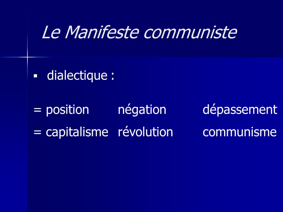 dialectique : = positionnégationdépassement = capitalismerévolution communisme Le Manifeste communiste