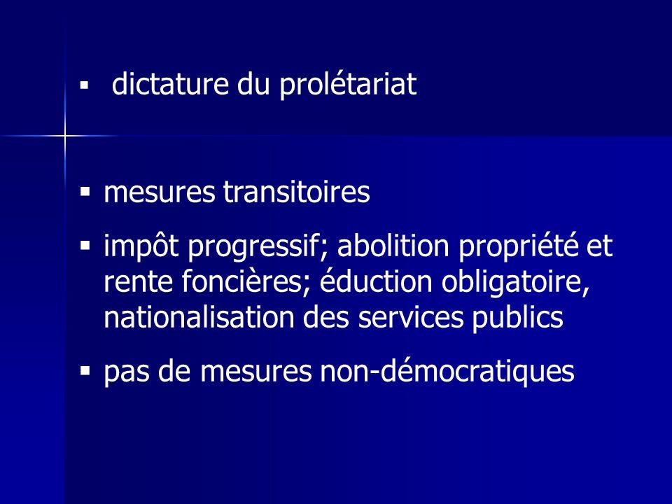 dictature du prolétariat mesures transitoires impôt progressif; abolition propriété et rente foncières; éduction obligatoire, nationalisation des services publics pas de mesures non-démocratiques