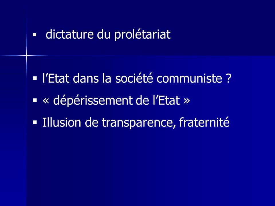 dictature du prolétariat lEtat dans la société communiste ? « dépérissement de lEtat » Illusion de transparence, fraternité