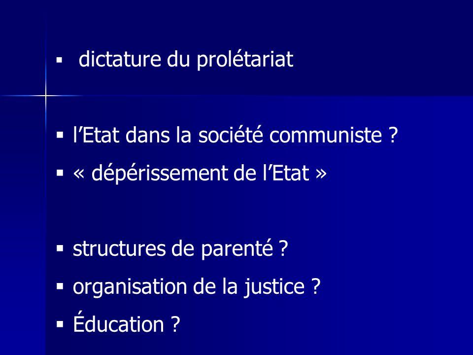 dictature du prolétariat lEtat dans la société communiste ? « dépérissement de lEtat » structures de parenté ? organisation de la justice ? Éducation