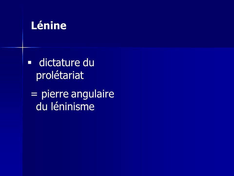 dictature du prolétariat = pierre angulaire du léninisme Lénine