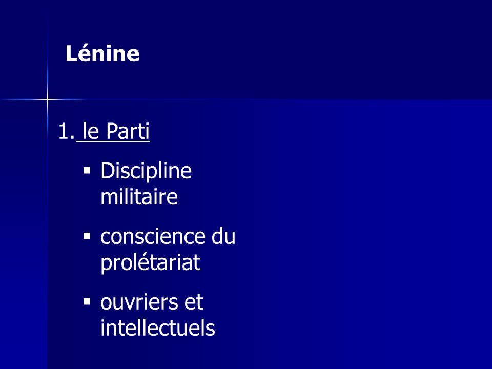 1. le Parti Discipline militaire conscience du prolétariat ouvriers et intellectuels Lénine