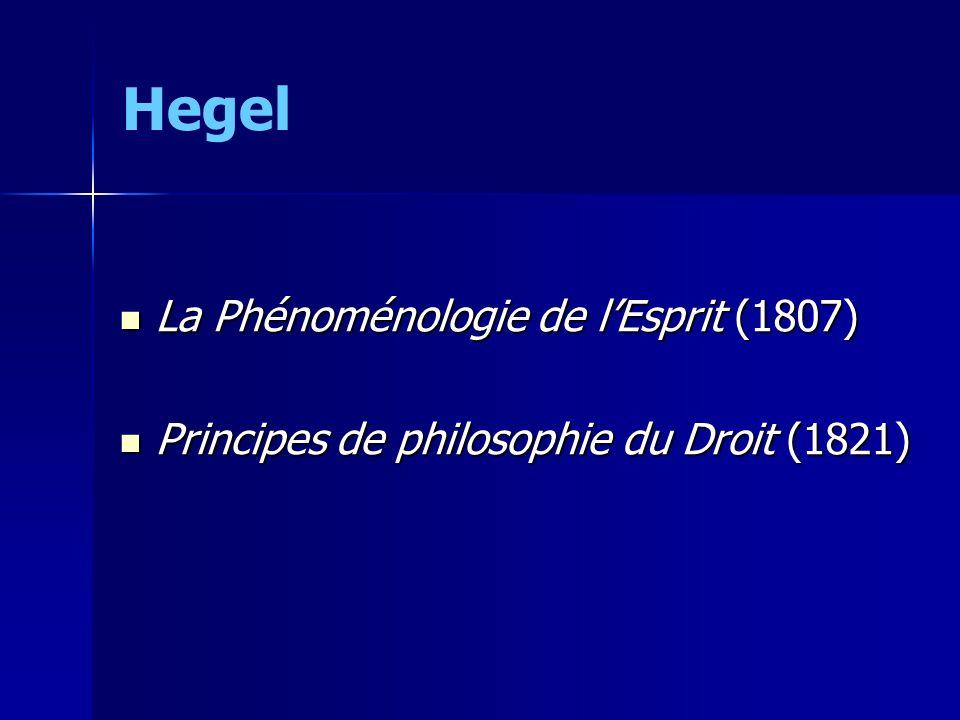 Hegel La Phénoménologie de lEsprit (1807) La Phénoménologie de lEsprit (1807) Principes de philosophie du Droit (1821) Principes de philosophie du Dro