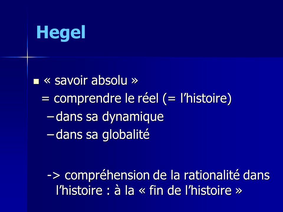 Hegel « savoir absolu » « savoir absolu » = comprendre le réel (= lhistoire) = comprendre le réel (= lhistoire) –dans sa dynamique –dans sa globalité