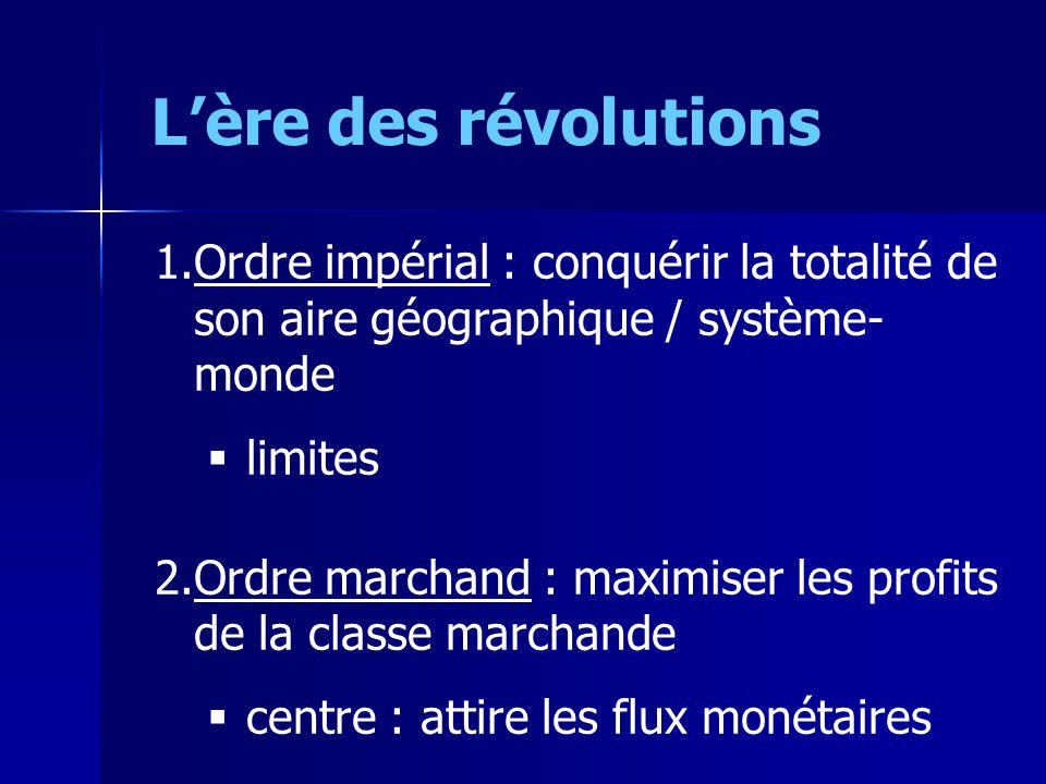 Lère des révolutions 1.Ordre impérial : conquérir la totalité de son aire géographique / système- monde limites 2.Ordre marchand : maximiser les profi