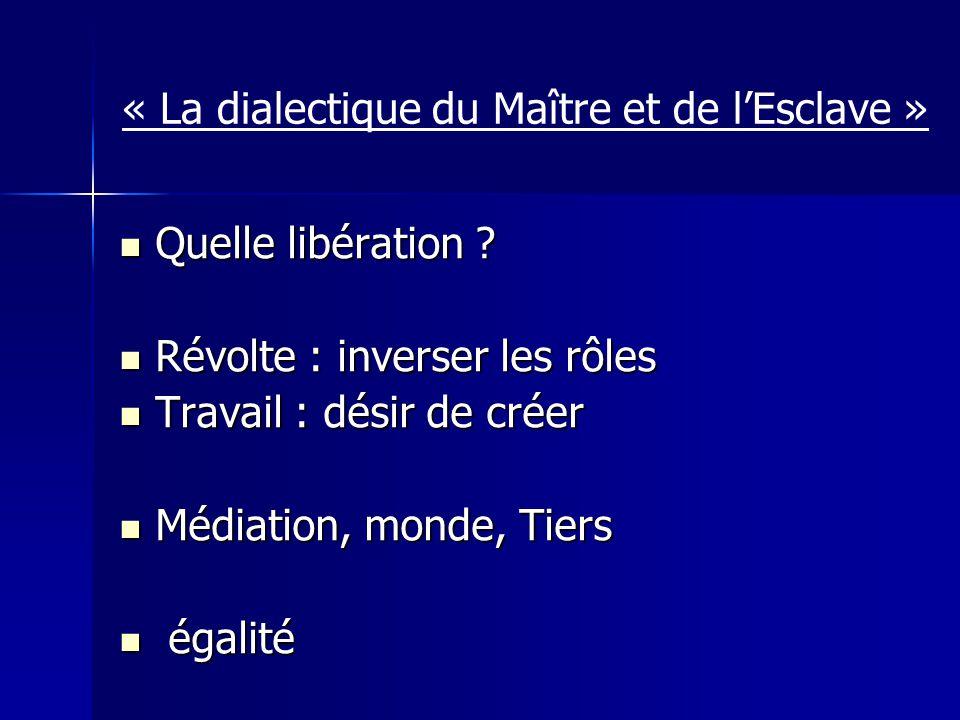 « La dialectique du Maître et de lEsclave » Quelle libération ? Quelle libération ? Révolte : inverser les rôles Révolte : inverser les rôles Travail