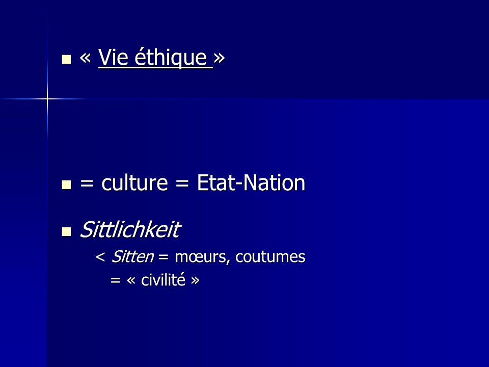 « Vie éthique » « Vie éthique » = culture = Etat-Nation = culture = Etat-Nation Sittlichkeit Sittlichkeit < Sitten = mœurs, coutumes < Sitten = mœurs,