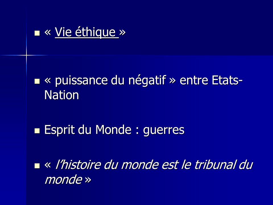 « Vie éthique » « Vie éthique » « puissance du négatif » entre Etats- Nation « puissance du négatif » entre Etats- Nation Esprit du Monde : guerres Es
