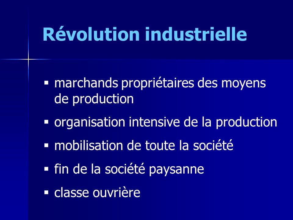 Révolution industrielle marchands propriétaires des moyens de production organisation intensive de la production mobilisation de toute la société fin