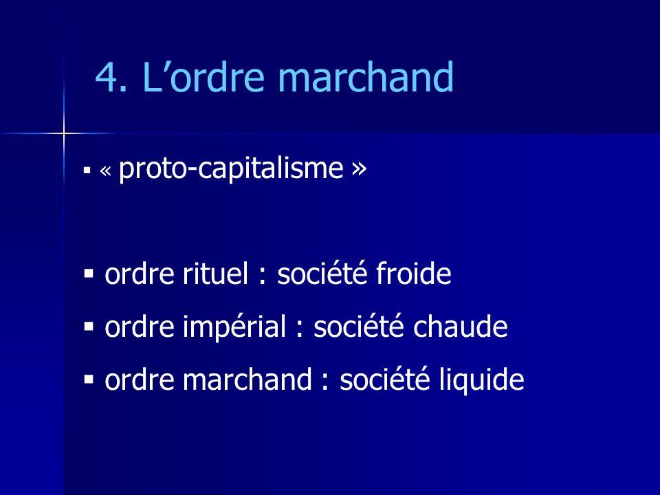 4. Lordre marchand « proto-capitalisme » ordre rituel : société froide ordre impérial : société chaude ordre marchand : société liquide
