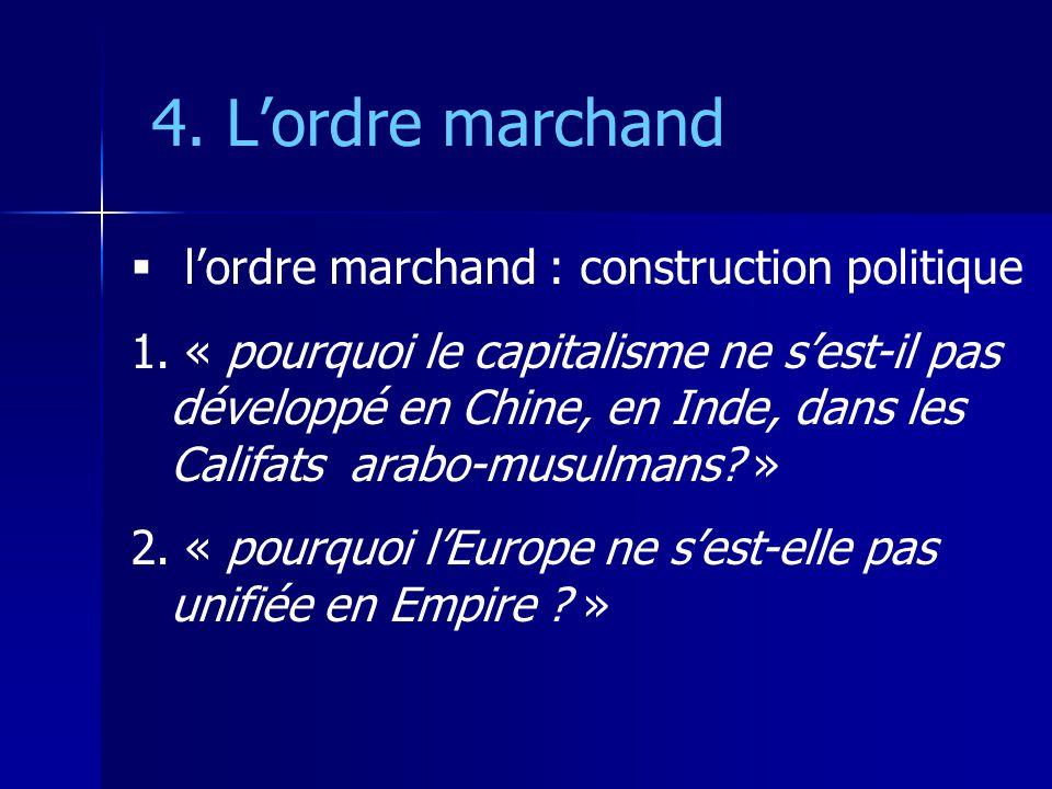 4. Lordre marchand lordre marchand : construction politique 1. « pourquoi le capitalisme ne sest-il pas développé en Chine, en Inde, dans les Califats
