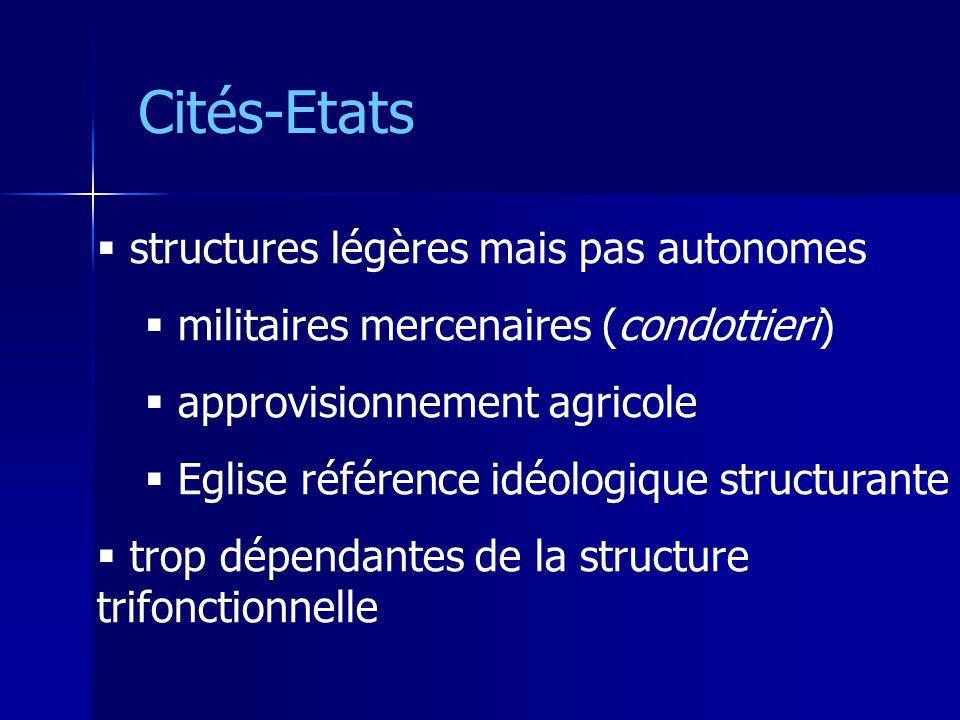 Cités-Etats structures légères mais pas autonomes militaires mercenaires (condottieri) approvisionnement agricole Eglise référence idéologique structu