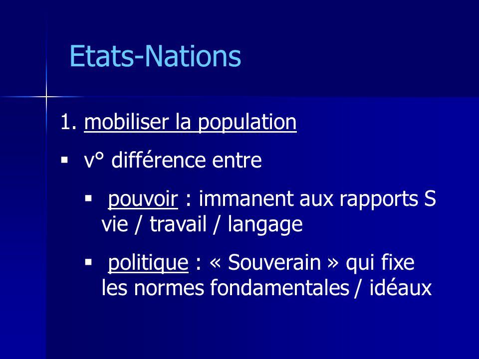 Etats-Nations 1. mobiliser la population v° différence entre pouvoir : immanent aux rapports S vie / travail / langage politique : « Souverain » qui f
