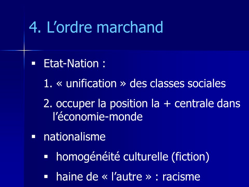 Etat-Nation : 1. « unification » des classes sociales 2. occuper la position la + centrale dans léconomie-monde nationalisme homogénéité culturelle (f
