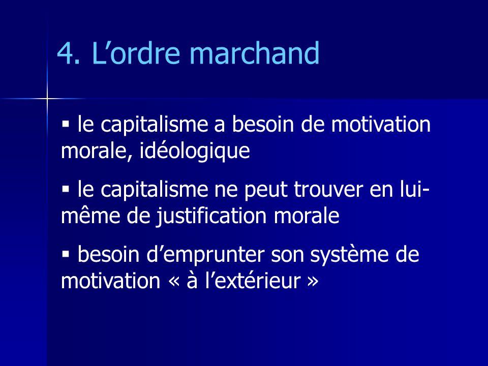 le capitalisme a besoin de motivation morale, idéologique le capitalisme ne peut trouver en lui- même de justification morale besoin demprunter son système de motivation « à lextérieur » 4.