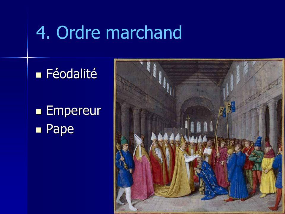 4. Ordre marchand Féodalité Féodalité Empereur Empereur Pape Pape