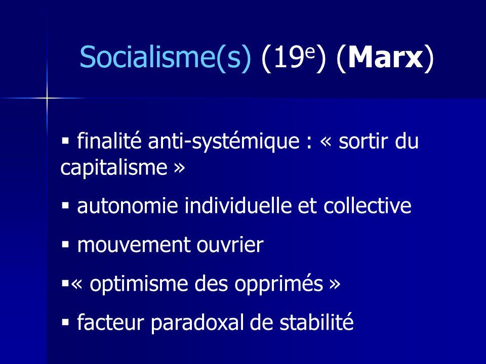 Socialisme(s) (19 e ) (Marx) finalité anti-systémique : « sortir du capitalisme » autonomie individuelle et collective mouvement ouvrier « optimisme des opprimés » facteur paradoxal de stabilité