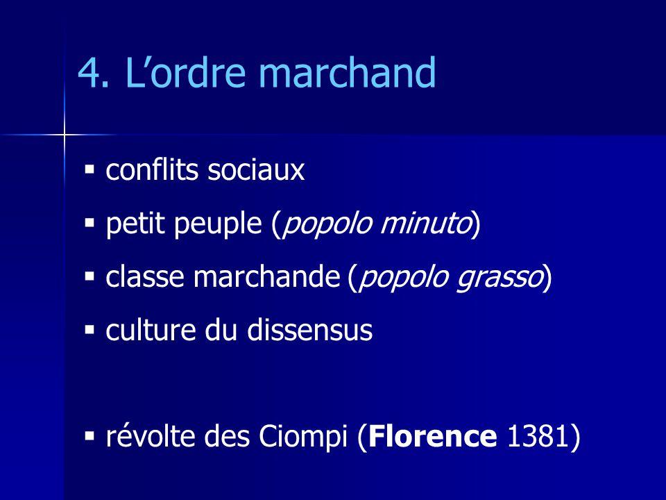 conflits sociaux petit peuple (popolo minuto) classe marchande (popolo grasso) culture du dissensus révolte des Ciompi (Florence 1381) 4. Lordre march