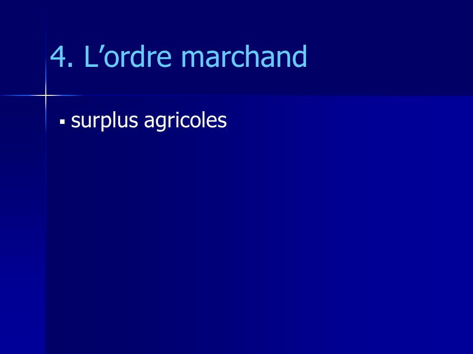 4. Lordre marchand surplus agricoles