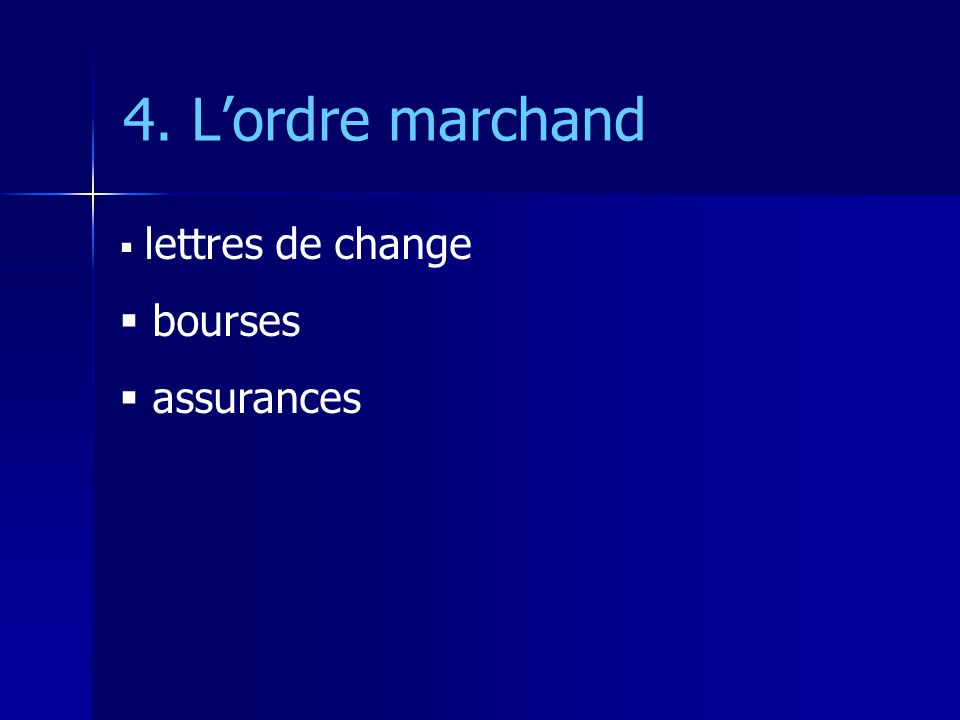 4. Lordre marchand lettres de change bourses assurances