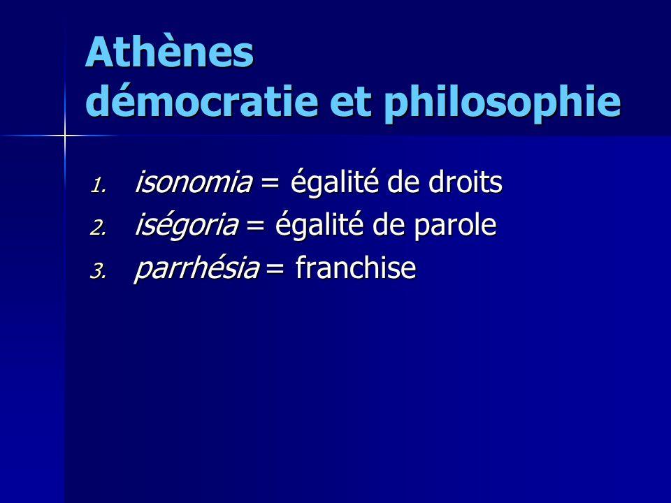 Athènes démocratie et philosophie 1. isonomia = égalité de droits 2. iségoria = égalité de parole 3. parrhésia = franchise