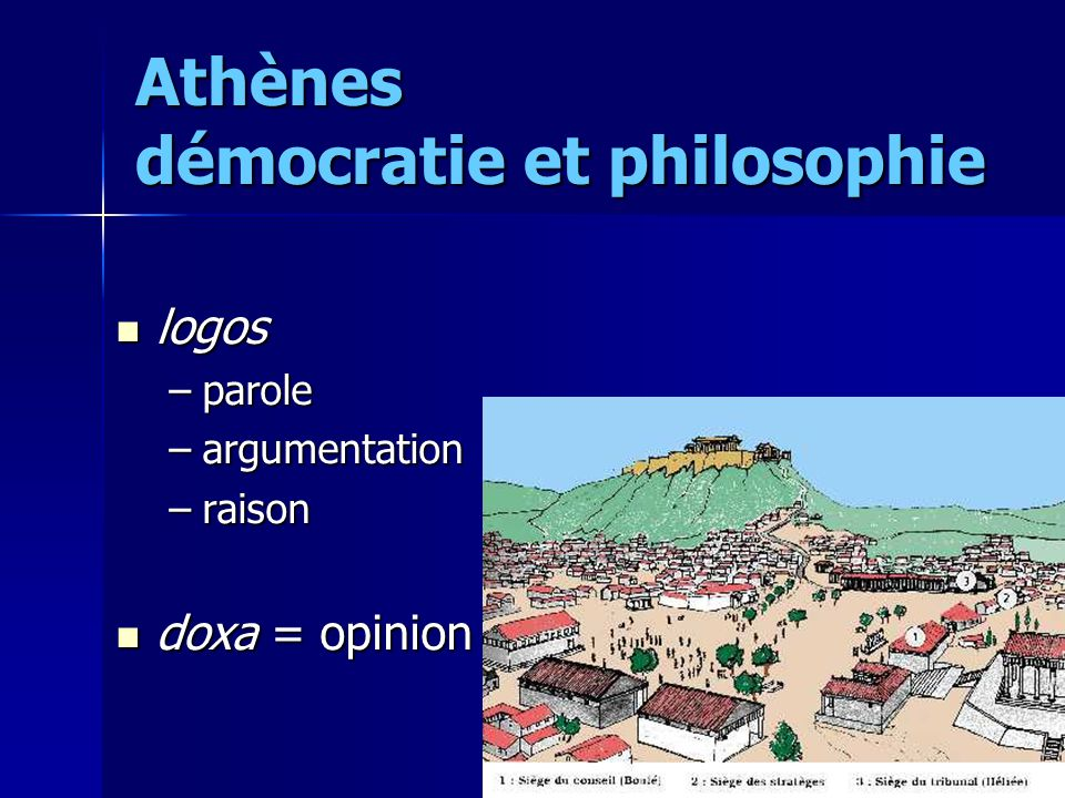 Athènes démocratie et philosophie logos logos –parole –argumentation –raison doxa = opinion doxa = opinion