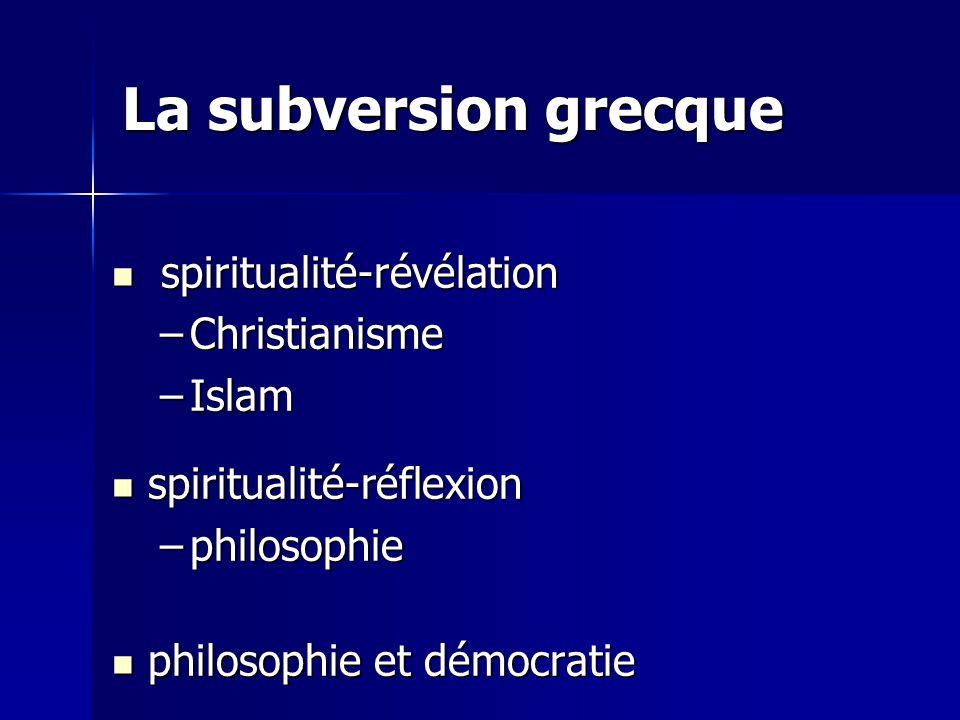 La subversion grecque spiritualité-révélation spiritualité-révélation –Christianisme –Islam spiritualité-réflexion spiritualité-réflexion –philosophie