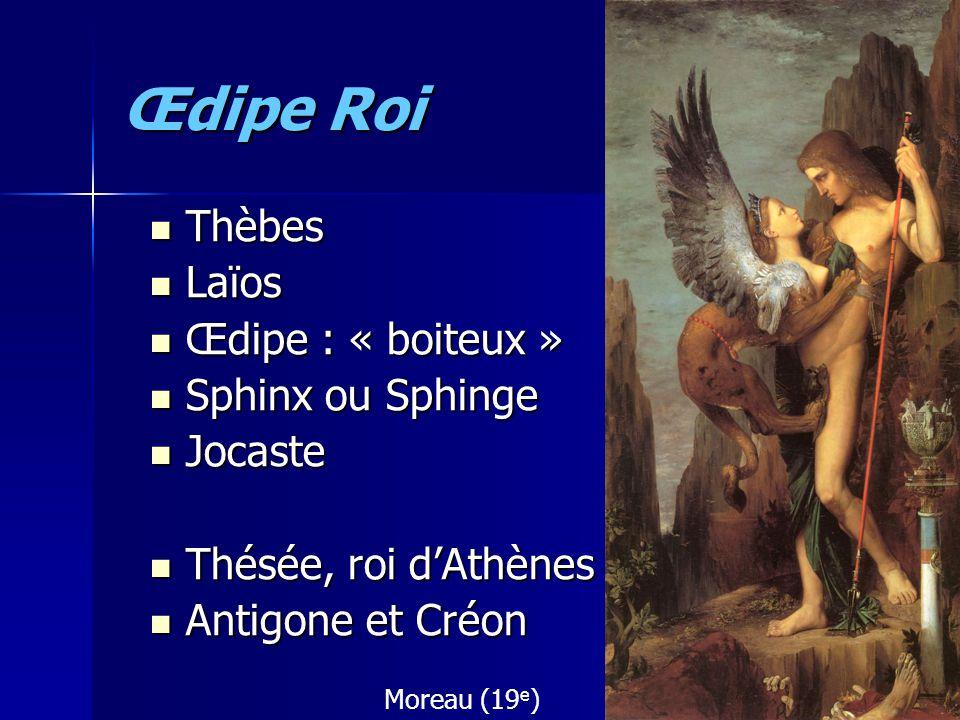 Œdipe Roi Thèbes Thèbes Laïos Laïos Œdipe : « boiteux » Œdipe : « boiteux » Sphinx ou Sphinge Sphinx ou Sphinge Jocaste Jocaste Thésée, roi dAthènes T