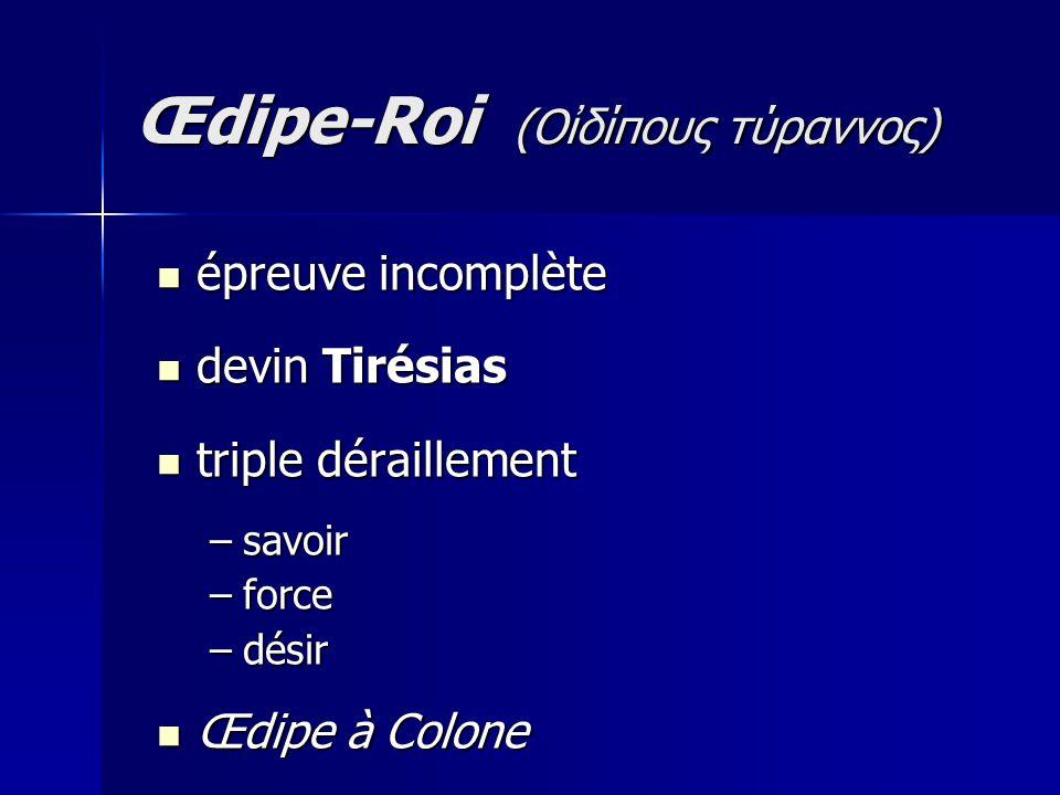 épreuve incomplète épreuve incomplète devin Tirésias devin Tirésias triple déraillement triple déraillement –savoir –force –désir Œdipe à Colone Œdipe