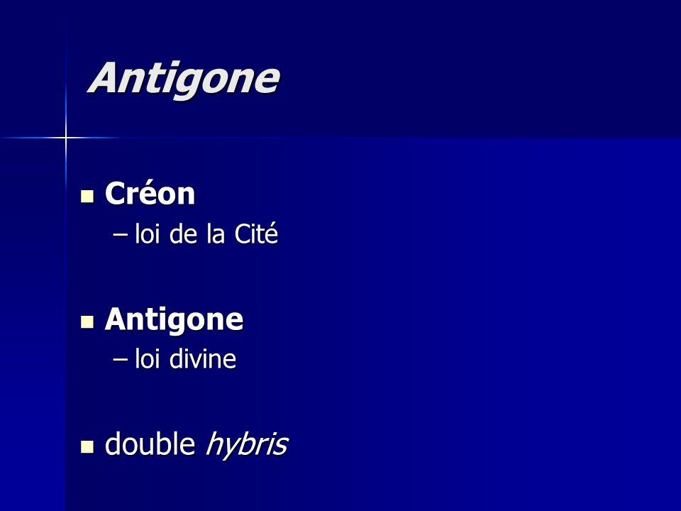 Créon Créon –loi de la Cité Antigone Antigone –loi divine double hybris double hybris Antigone
