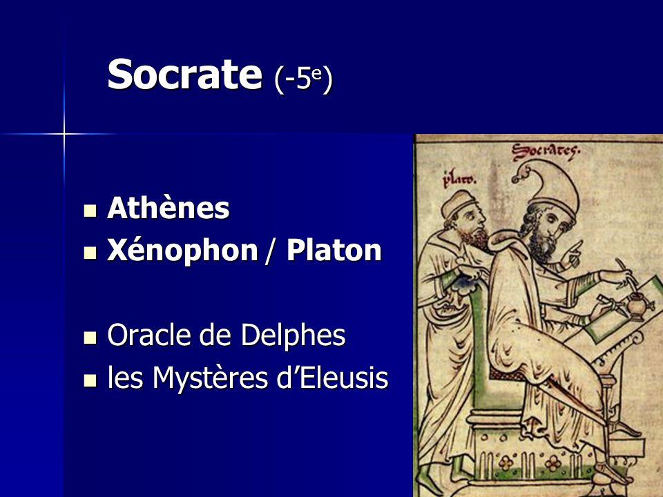 Socrate (-5 e ) Athènes Athènes Xénophon / Platon Xénophon / Platon Oracle de Delphes Oracle de Delphes les Mystères dEleusis les Mystères dEleusis