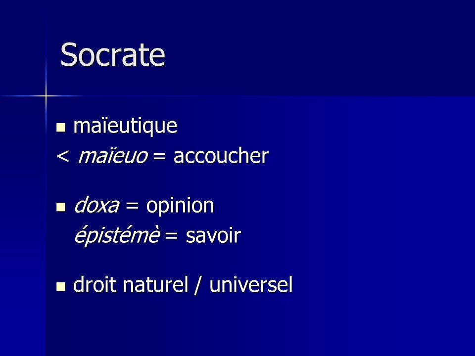 Socrate maïeutique maïeutique < maïeuo = accoucher doxa = opinion doxa = opinion épistémè = savoir droit naturel / universel droit naturel / universel
