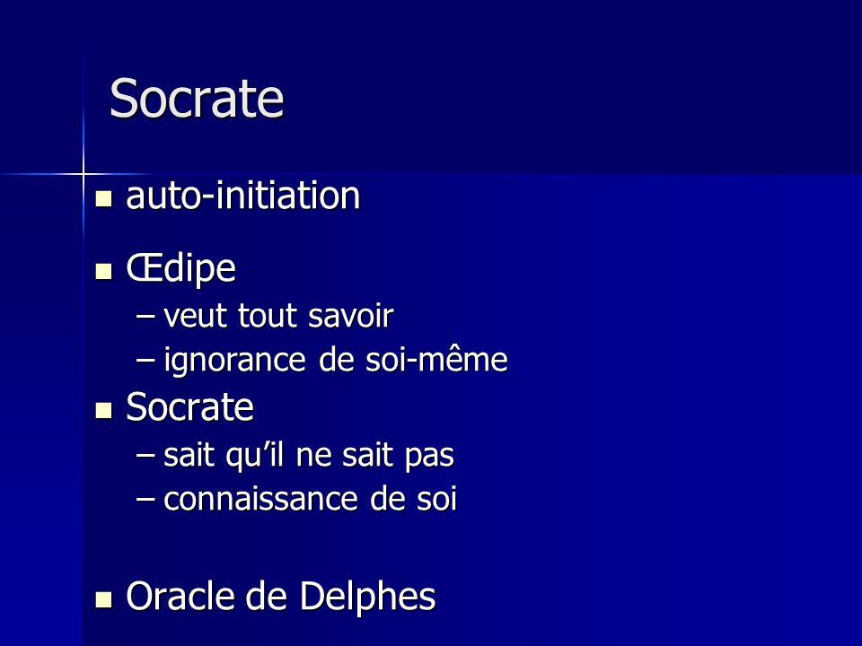 auto-initiation auto-initiation Œdipe Œdipe –veut tout savoir –ignorance de soi-même Socrate Socrate –sait quil ne sait pas –connaissance de soi Oracl