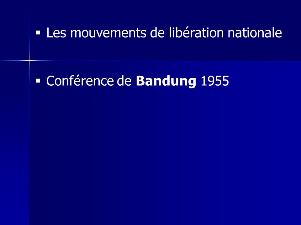 Les mouvements de libération nationale Conférence de Bandung 1955