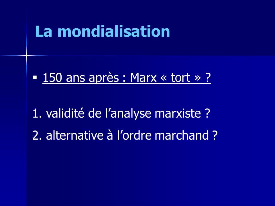 150 ans après : Marx « tort » . 1. validité de lanalyse marxiste .
