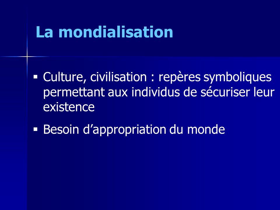 Culture, civilisation : repères symboliques permettant aux individus de sécuriser leur existence Besoin dappropriation du monde La mondialisation