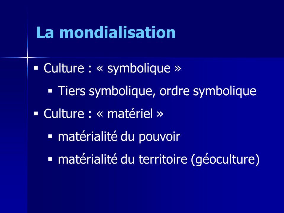 Culture : « symbolique » Tiers symbolique, ordre symbolique Culture : « matériel » matérialité du pouvoir matérialité du territoire (géoculture) La mondialisation