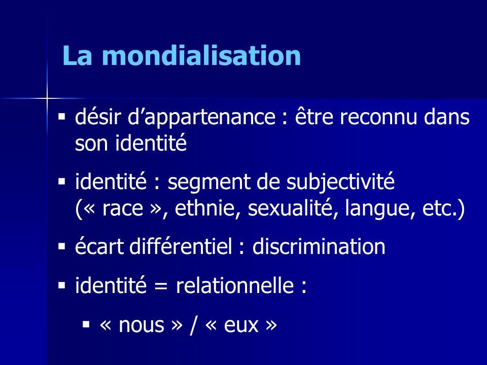 désir dappartenance : être reconnu dans son identité identité : segment de subjectivité (« race », ethnie, sexualité, langue, etc.) écart différentiel : discrimination identité = relationnelle : « nous » / « eux » La mondialisation