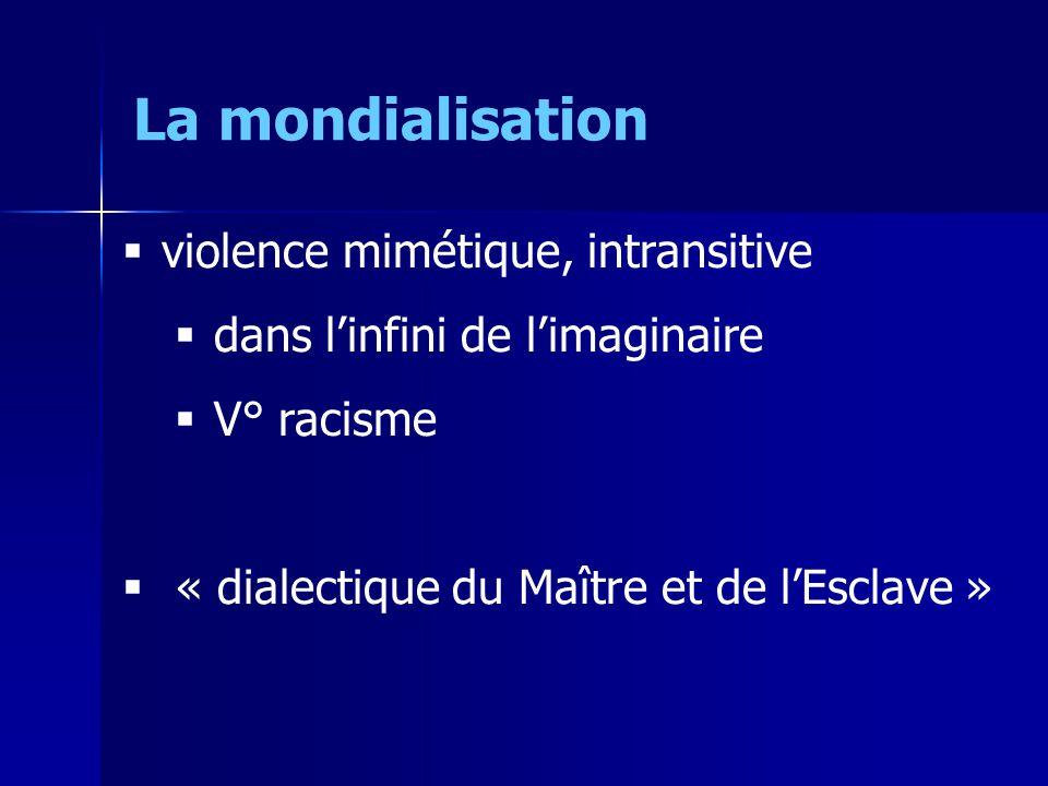 violence mimétique, intransitive dans linfini de limaginaire V° racisme « dialectique du Maître et de lEsclave » La mondialisation